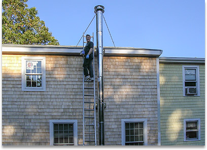 Pre Fab Chimney Installation - The Flues Brothers Chimney Sweeps - Serving Southeastern Massachusetts